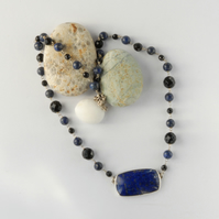 Sterling silver, blue lapis and black onyx necklace