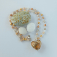 Sunstone and peach murano glass heart necklace