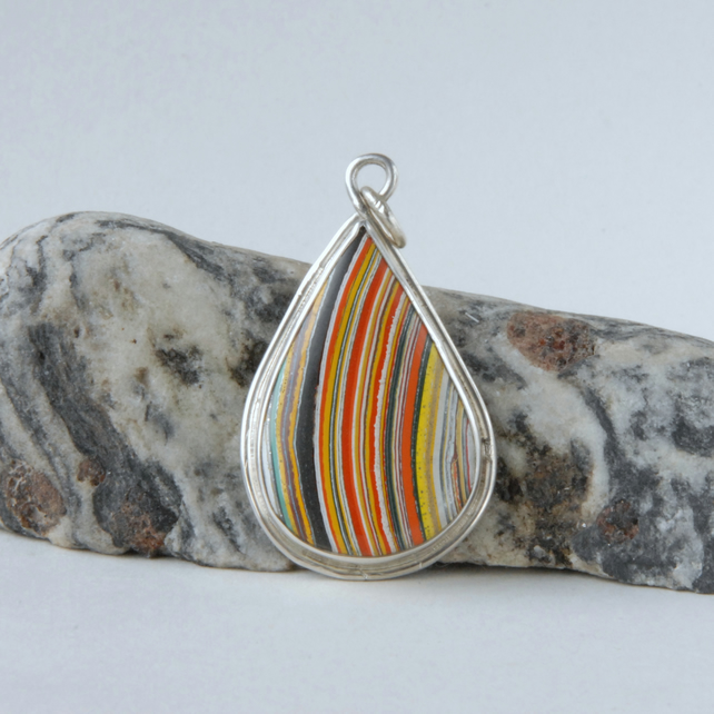 Retro fordite and sterling silver tear drop pendant