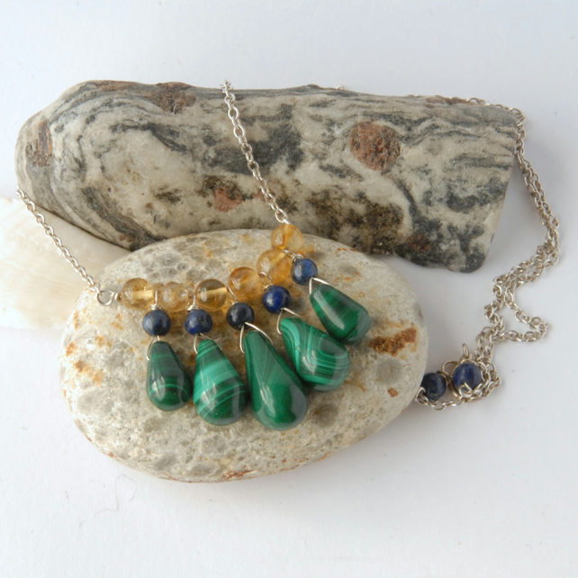 Malachite, lapis, citrine and sterling silver necklace
