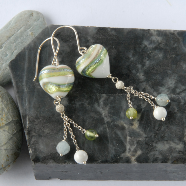 White, green and blue dangly murano heart earrings