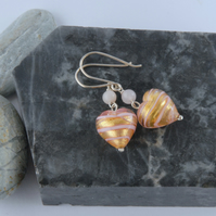 Gold and pink murano glass heart earrings