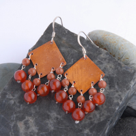 Carnelian fringed textured copper and sterling silver earrings