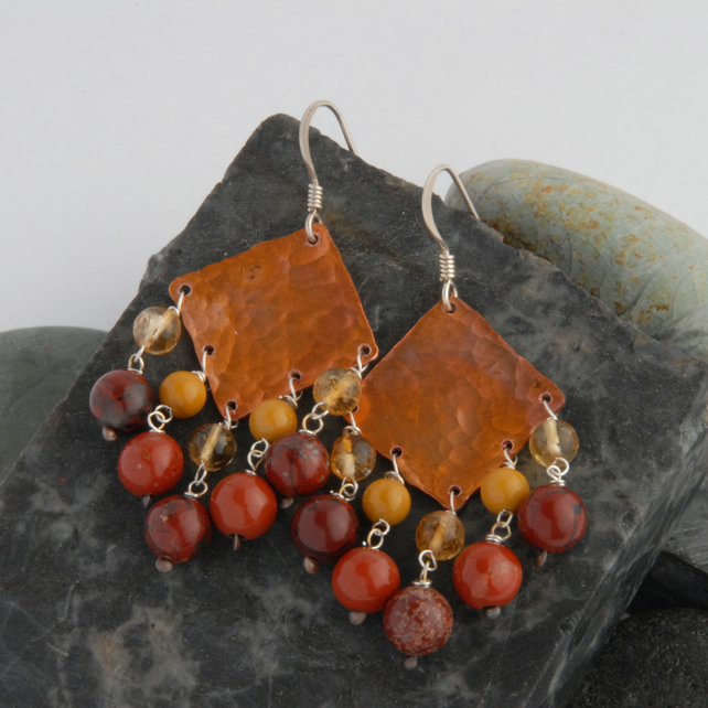 jasper and citrine fringed textured copper and sterling silver earrings