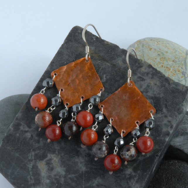 jasper and haematite fringed textured copper and sterling silver earrings
