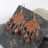 jasper and smoky quartz fringed textured copper and sterling silver earrings