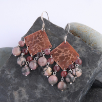 maroon jasper and rhodonite fringed textured copper and sterling silver earrings