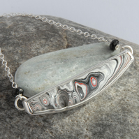 Sterlng silver and Detroit fordite bar necklace