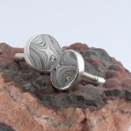 Swivel back sterling silver and detroit fordite cufflinks