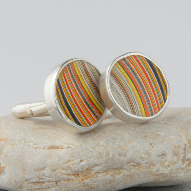 Retro sterling silver and fordite (Dagenham agate) cufflinks