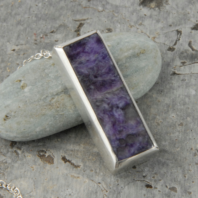 Purple charoite and sterling silver modern pendant