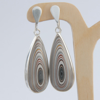 Reversible fordite (Detroit agate) drop and sterling silver earrings
