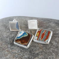 Vintage fordite (Dagenham agate) and sterling silver stud top earrings