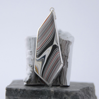 Large reversible geometric fordite and sterling silver pendant