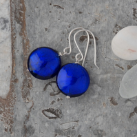 Royal blue murano glass bead and sterling silver earrings