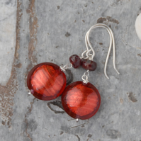 Red murano glass bead and sterling silver earrings