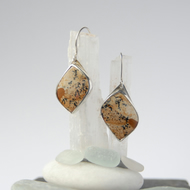 Sterling silver and jasper leaf drop earrings