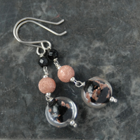 Black and copper murano sterling silver drop earrings