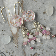 Sterling silver with pink speckle murano and ruby bead tassel earrings