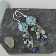 Sterling silver and blue speckle murano glass bead tassel earrings