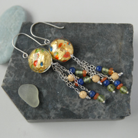 Sterling silver and gold speckle murano dangle earrings