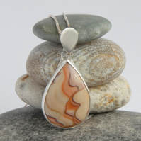 Arizona sandstone and sterling silver pear drop pendant