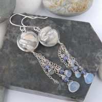 Sterling silver earrings with murano beads, opals, tanzanites and diamond chips