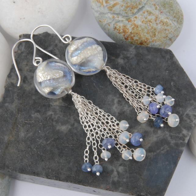 Sterling silver with murano glass, opals, tanzanite and sapphire earrings