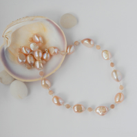 Peach pearl and sunstone sterling silver necklace