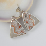 Sterling silver and lace agate drop earrings