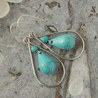 Sterling silver and turquoise frame drop earrings