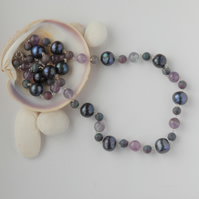 Pearl, fluorite, apatite, amethyst and sterling silver necklace