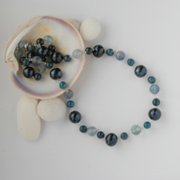 Teal blue pearl, apatite and fluorite sterling silver necklace