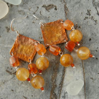 Copper, carnelian and honey quartz dangle earrings