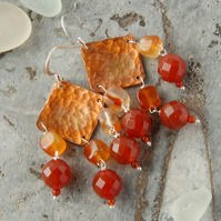 Autumnal copper and carnelian fringed earrings