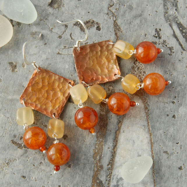 Copper, cracked agate and carnelian fringed earrings