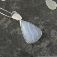 Sterling silver and blue lace agate pendant