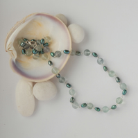 Teal green pearl and minty green fluorite sterling silver necklace