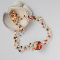 Multi stranded murano glass and mother of pearl necklace