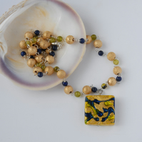 Gold, green and blue murano glass beaded necklace