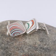 Sterling silver and 70's truck fordite cufflinks