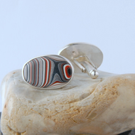 Sterling silver and blue, grey fordite cufflinks