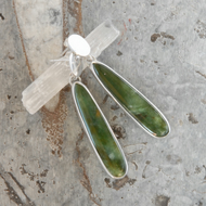 New Zealand jade and sterling silver drop earrings