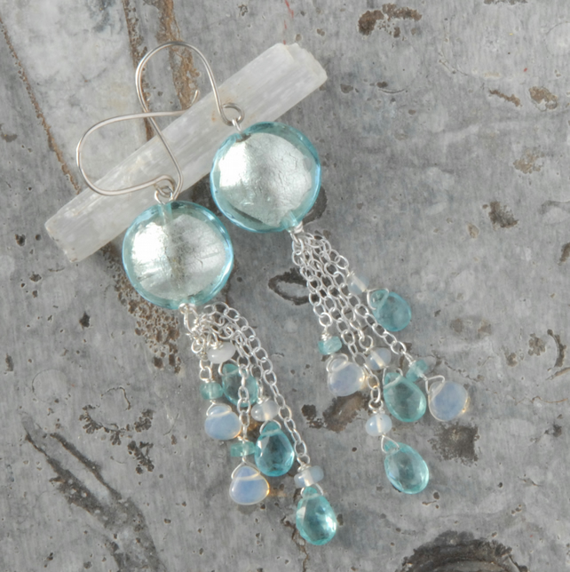 Sterling silver earrings with murano glass, apatite and opals