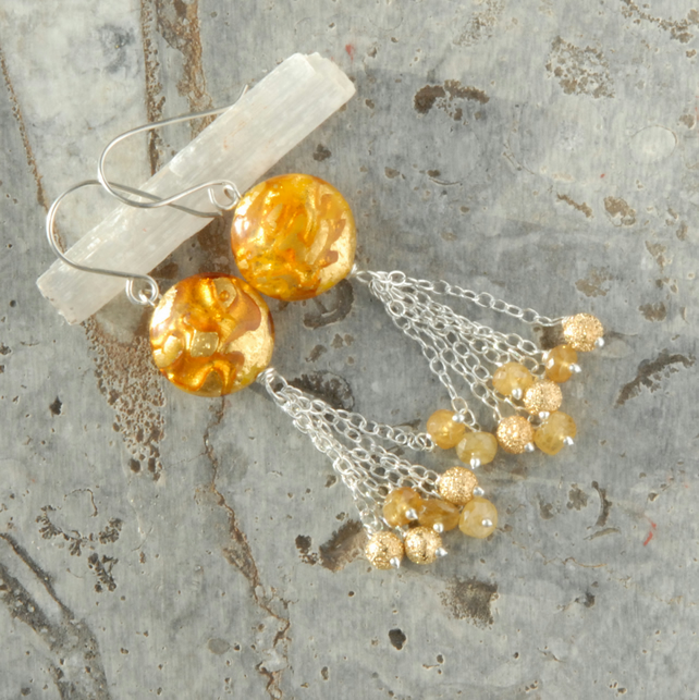 Sterling silver earrings with gold foil murano glass and yellow sapphires