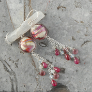 Ruby, pink tourmaline and murano glass silver tassel dangle earrings