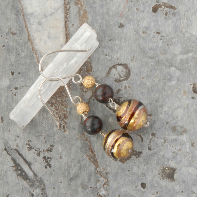 Gold foil and chocolate brown murano glass sterling silver earrings
