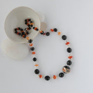 Black and orange murano glass and sterling silver necklace