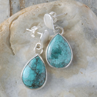 Sterling silver and tibetan turquoise drop earrings