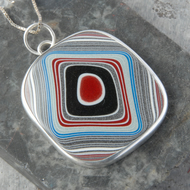 Super sparkly square fordite and sterling silver pendant